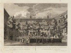 Gezicht van het Luthersche Weeshuys, op de Binnen-plaats te zien, tot Amsterdam