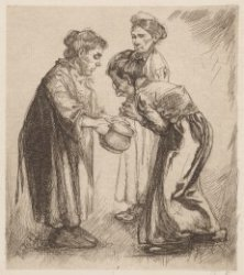 Drie vrouwen met een nachtspiegel