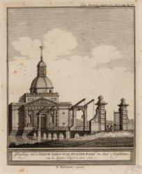 Afbeelding van de Nieuw Gebouwde Muyder Poort der stad Amsterdam van de Buyten C…