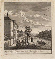 Gesigt van de Burgwal siende na het Bessies-huys en Binnen-amstel