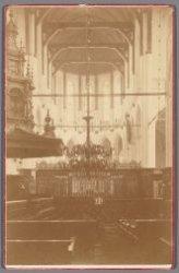 Dam 12. Interieur van de Nieuwe Kerk gezien naar het koor