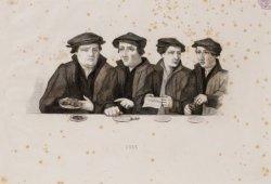 Schutterij. Fragment uit de Braspenningmaaltijd door Cornelis Anthonisz. Technie…