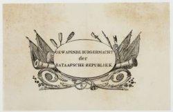 Vignet met tekst: Gewapende burgermacht der Bataafsche Republiek