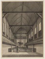 Het interieur van de kerk in het Binnengasthuis aan de Grimburgwal, ooit de Nieu…