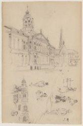 Schetsblad met aan de voorzijde boven: gezicht op het Koninklijk Paleis en de Ni…