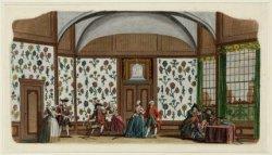 Interieur Schouwburg aan de Keizersgracht 384 met het decor De Behangen Kamer. T…