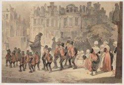 Groep burgerwezen aan de wandel onder leiding van een weeshuisvader