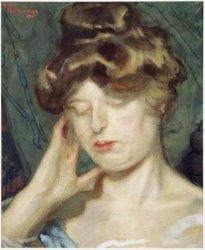 Portret van een vrouw. gesigneerd Martin Monnickendam 1905