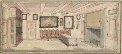 De directiekamer in de oude schouwburg, Keizersgracht 384, die op 11 mei 1772 af…