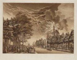 De brand van de Luthersche Nieuwe Kerk op 18 september 1822 gezien in noordelijk…