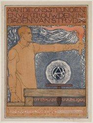 Henri Polaklaan 9, affiche van de Diamantbewerkersbond, de A.N.D.B.. Techniek: l…