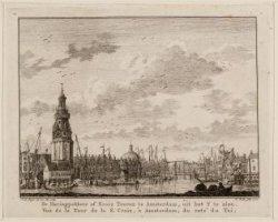 De Haringpakkers of Kruis Tooren te amsterdam, uit het Y te zien