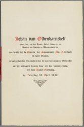 """Brochure met opschrift """"Johan van Oldenbarnevelt, ridder, heer van den Tempel [.…"""