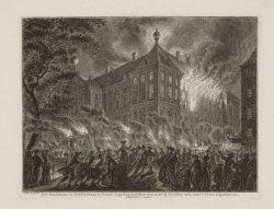 Het Stadshuis te Amsteldam in brand, ''s nachts tusschen den 12 en 13 October 17…