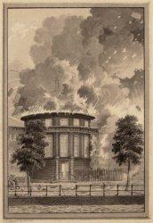 Ronde Lutherse Kerk, Singel 11, tijdens de brand  in 1822
