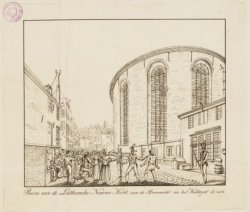 Ruine van de Luthersche Nieuwe Kerk, van de Stroomarkt na het Kattegat te zien