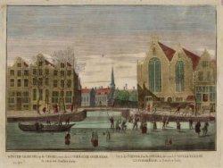 Winter-gezicht, op de Cingel, voor de Luthersche Oude Kerk te zien tot Amsterdam