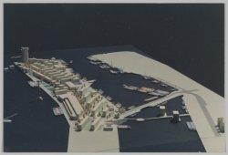 Maquette van de Levantkade (rechts) en omgeving naar een plan van A. van Herk, g…