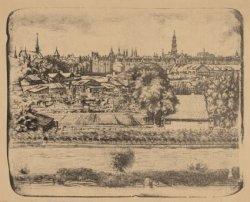 Gezicht op de Slatuinen, vanuit de woning van de kunstenaar Johannes Lohr aan Re…