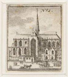 Vooraanzicht van de Nieuwe Kerk op de Dam. Techniek: ets