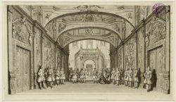 Decor van het hofportaal in de Amsterdamsche Schouwburg, Keizersgracht 384. Tech…