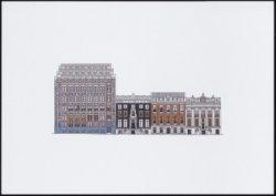 Kleurendruk naar een geveltekening van Herengracht 476-482