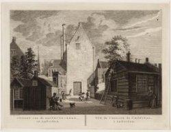 Op het latere Binnengasthuisterrein de gevel van de Gasthuiskerk op het Gasthuis…