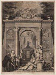 Allegorische prent op het Lutheranisme en de Lutherse weldadigheid