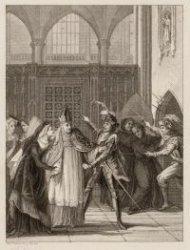 """Het vijfde bedrijf, tweede toneel van het treurspel """"Maria van Bourgondië"""" in de…"""