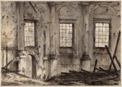 De ruïne van de Ronde Lutherse Kerk, van binnen gezien, na de brand van 18 septe…