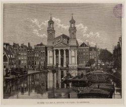 Waterlooplein, voorheen Leprozengracht, gezien vanaf de Amstel naar de Mozes en …