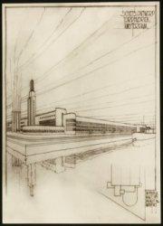 Foto naar een schetsontwerp van de Fordfabriek te Sloterdijk, Hemweg 201. Dateri…