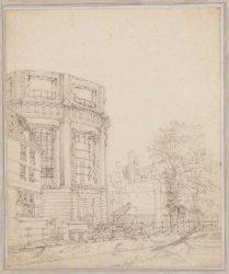 Ruïne van de Ronde Lutherse Kerk na de brand van 1822, gezien van de overzijde v…