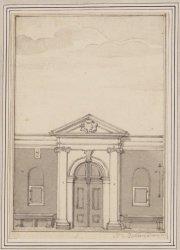 De ingang van de Schouwburg aan de Keizersgracht die in 1772 in brand opging.. V…