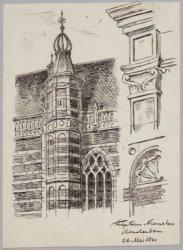Schets van de traptoren en twee details van de Nieuwe Kerk, Nieuwezijds Voorburg…