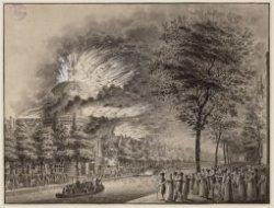 Singel gezien in zuidoostelijke richting naar de brand van de Ronde Lutherse ker…