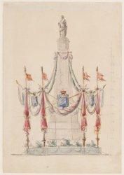 Ontwerptekening voor versieringen van het monument op de Dam, vermoedelijk t.g.v…