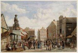 Botermarkt, later Rembrandtplein gezien vanaf Thorbeckeplein naar Halvemaansteeg