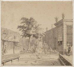 De tuin van molen De Hooiberg op het bolwerk Slotermeer aan de Singelgracht, eig…