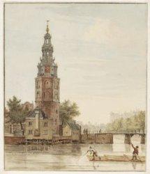 Montelbaanstoren gezien vanaf de overkant van de Oudeschans