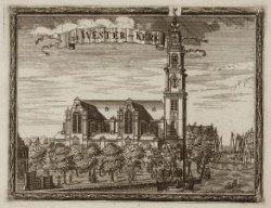 Prinsengracht 281, de Westerkerk gezien over de Prinsengracht naar het zuiden. T…