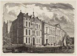 Binnengasthuis en De Nederlandsche Bank; houtgravure