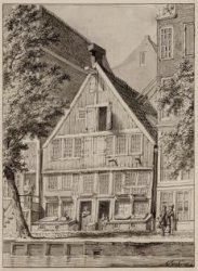 Het woonhuis van Vondel, Spuistraat 188. Techniek: penseel in grijs