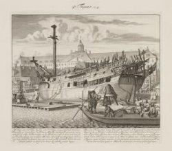 Afbeelding van een Schip, leggende voor de scheeps timmer werf van d''Oostindise…