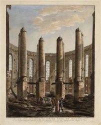 Ruïne der Luthersche Nieuwe Kerk te Amsterdam, na den verschrikkelijken Brand, o…