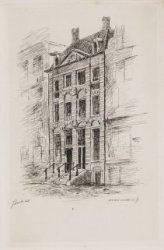 Het huis van Rembrandt aan Jodenbreestraat 4-6. Ets door Jan Weissenbruch naar e…