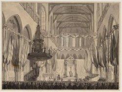 Nieuwe Kerk tijdens de inhuldiging koning Willem I. Voortekening voor de door N.…