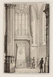Dam 12, het interieur van de Nieuwe kerk met het grafmonument van J.C.J. van Spe…