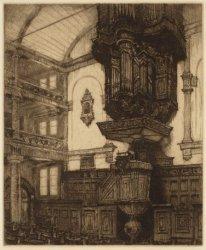 Interieur van de Remonstrantse kerk, Keizersgracht 102. De preekstoel en het org…