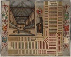 Plattegrond van de zitplaatsen en interieur van de Gasthuiskerk op het binnengas…